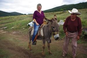 Tonyia on donkey
